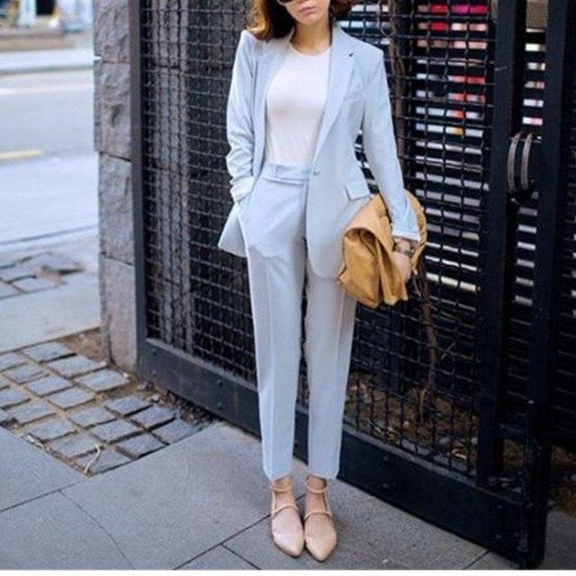 ae42b81c2ed6 € 85.61 |Trajes de pantalón Formal para mujer trajes de oficina de negocios  hechos a medida 2 piezas chaqueta + Pantalones trajes para la boda es ...