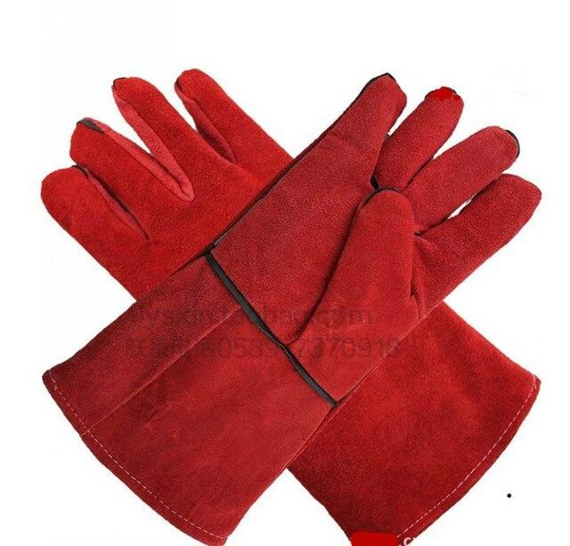 2016 плюс новый код сварщиков кожаные перчатки носить вырос красный тепловой удар Слой толщиной теплые кожаные перчатки