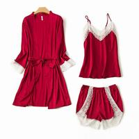 New Solid Women Wedding Bridal Kimono Robe Sexy Short Satin Spa Night Dress Lace Pajama Pijama Set Summer 3PCS Sleepwear