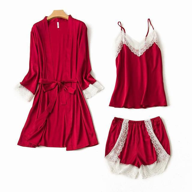 491a5b570 Nova Sólidos Mulheres Nupcial Do Casamento Curto de Cetim vestido de Kimono  Robe Sexy Spa 3