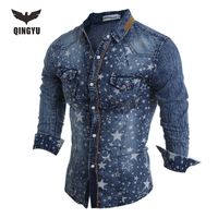 Hot Sell Men Shirt Luxury Brand 2016 Male Long Sleeve Shirts Casual Mens Denim Printing Slim