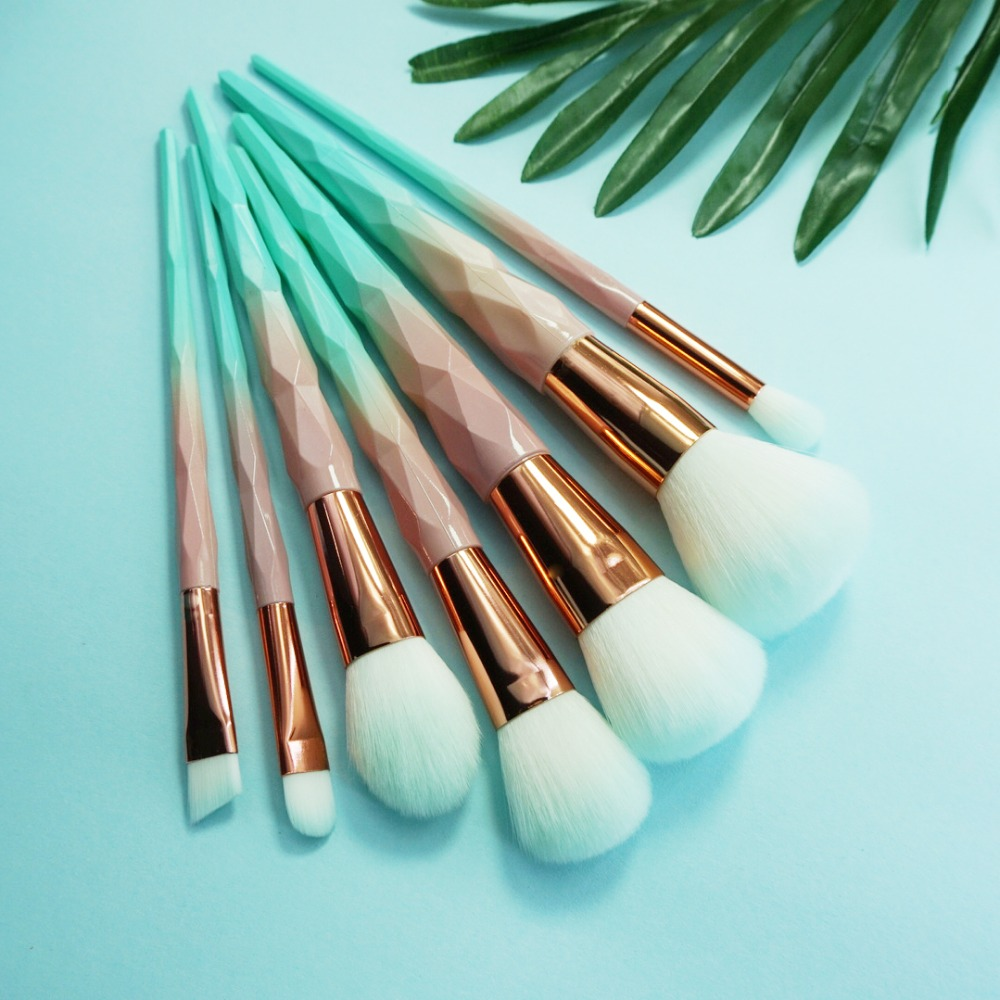 Unicorn Brushes Kit Diamond Blue Makeup Brush Foundation Big Powder Brush Blush Contour Eyebrow Cosmetic Make Up Tool kwasten silver professional foundation brush fish scale makeup brushes pro foundation powder blush contour brush fishtail cosmetic tool