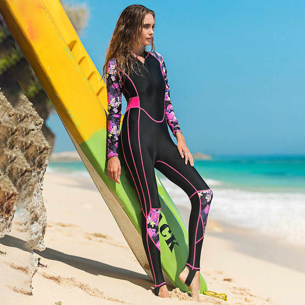 Açık 3mm Kadın Yüzücü Uzun Kollu Tam Vücut dalgıç kıyafeti Sıcak Tutmak Sörf Dalış Wetsuits Nefes dalış ekipmanları # D