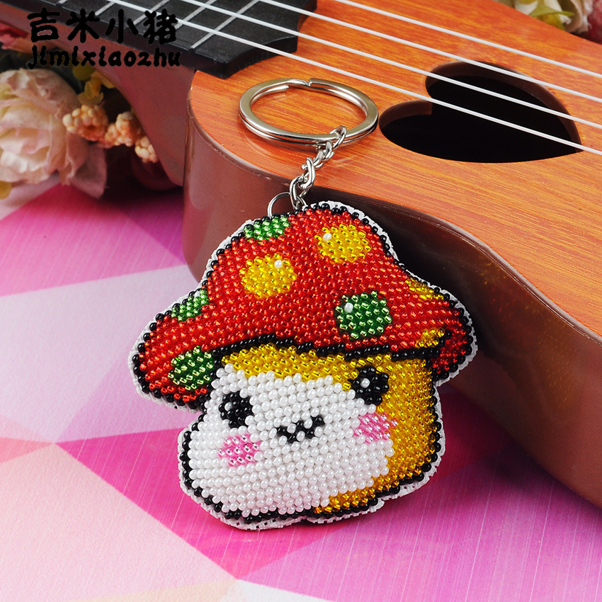 Beads Toys For Children Diy Bead Embroidery New Hand-made Cross-stitch Key Chain Stitch Knapsack For Non-finished Adult Girl Toy