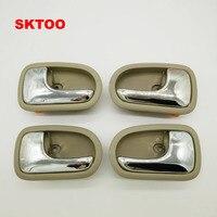 SKTOO 4 Pçs/set Maçaneta Da Porta Bege Esquerda Direita dentro Para Mazda 323 1995-2003 Dentro Maçaneta Da Porta