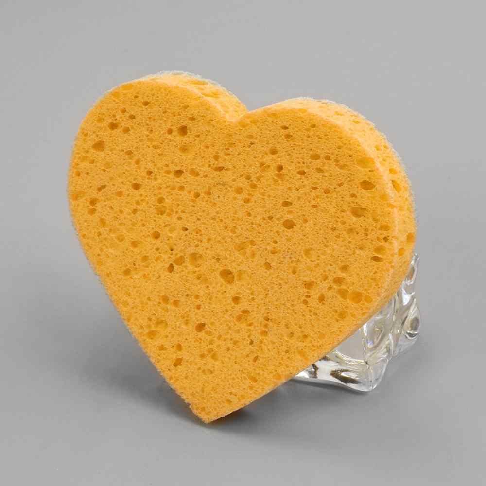 Сухой влажный амфибия макияж основа губчатый смеситель слоеный порошок мягкий спонж в форме сердца для снятия макияжа Губка древесная целлюлоза хлопок