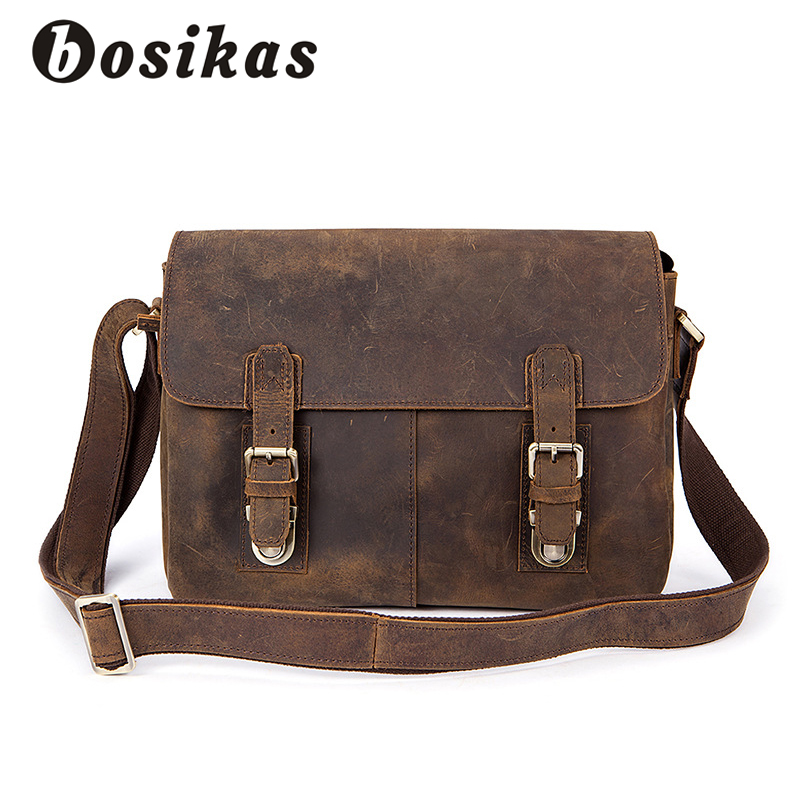 BOSIKAS Vintage Crossbody Bags Men Bag Handbags Fashion Crazy Horse Genuine Leather Casual Tote Shoulder Bag Handbag Briefcase 2018 new style genuine leather woman handbag vintage metal ring cloe shoulder bag ladies casual tote fashion chain crossbody bag