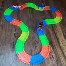 Új stílusok Rugalmas Track Rail Train Glow Luminous Electric Railcar gyermekjátékok