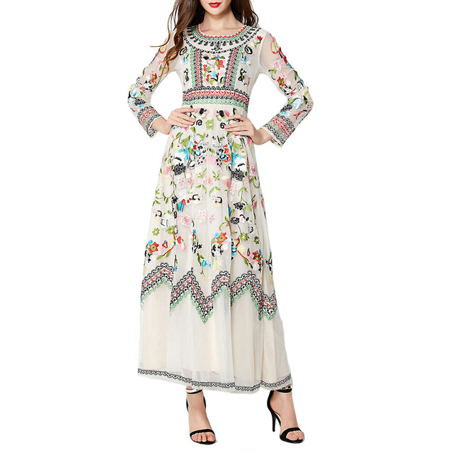 European Boutique Womens Fit-and-Flare Embroidery Lace Long Sleeve Cocktail Party Long Dress