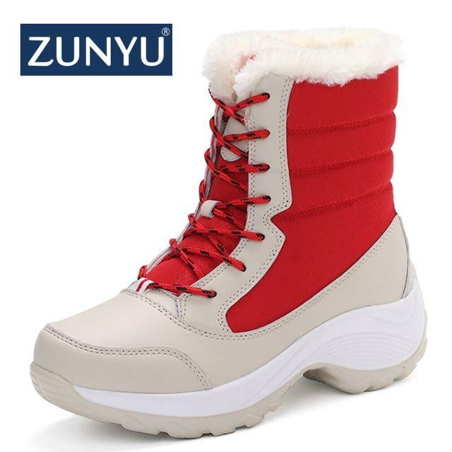 ZUNYU bianco inverno stivali delle donne di modo stivali da neve delle nuove donne di stile scarpe scarpe di Marca di alta qualità di trasporto libero veloce girlw di avvio