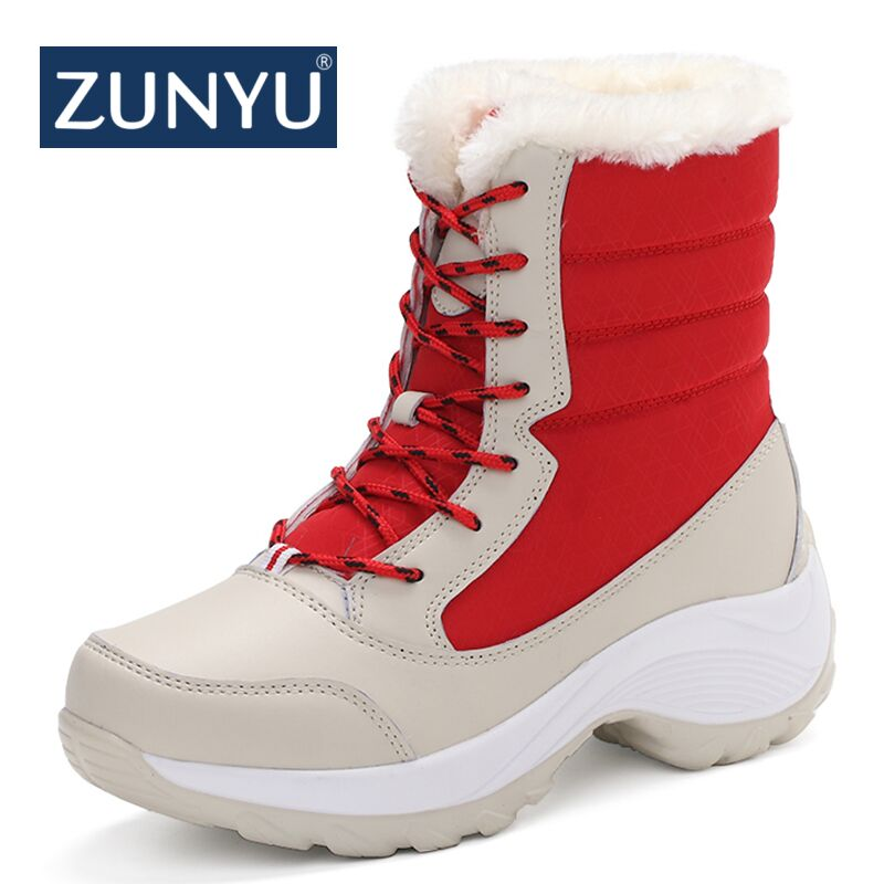ZUNYU white winter boots women fashion snow boots new style women s shoes Brand shoes high