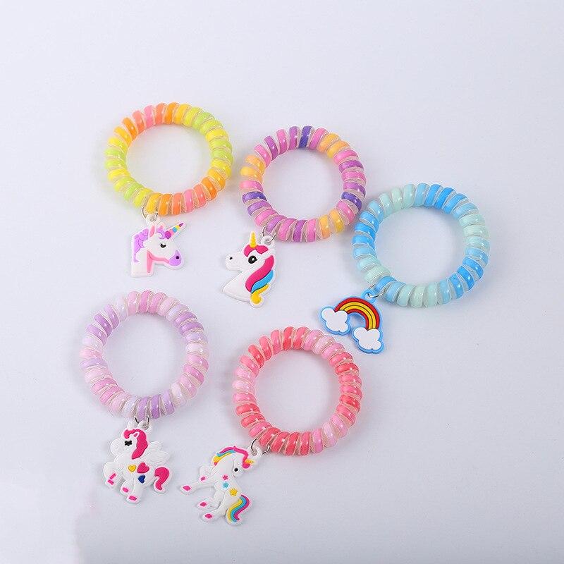 5 шт., браслеты для волос в виде единорога для девочек