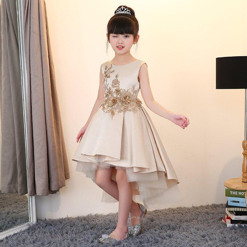 Toddler baby Fairy long tail long dress elegant summer girl kids front short back long champagne gold bridesmaid wedding party girl