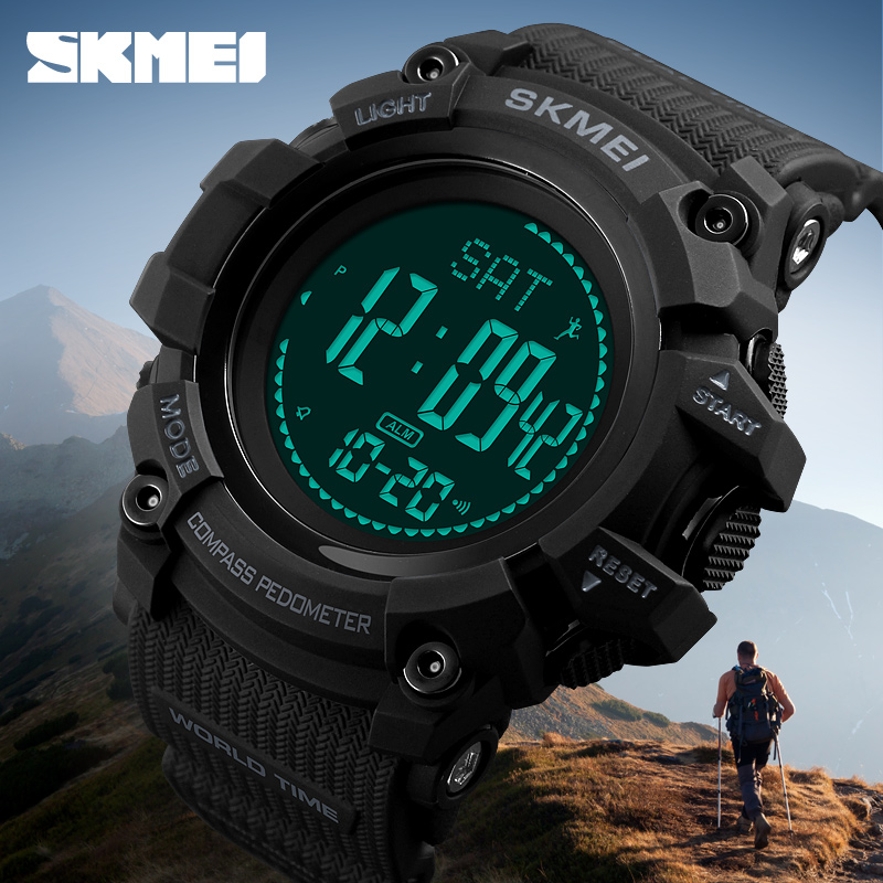 SKMEI Calories Pedometer Mens Sports Watch Fashion Digital Waterproof Military Wristwatches Compass Relogio Masculino new compass watch men outdoor military calories pedometer digital sports watches waterproof clock relojes relogios masculino