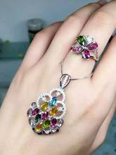 Natural multicolor tourmaline gem jewelry sets natural gemstone ring Pendant 925 silver elegant Butterfly flowers women jewelry