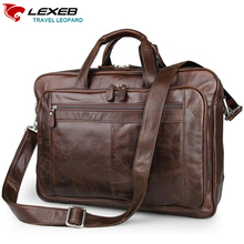 LEXEB Luxury Brand Design Real Cow Leather Briefcases Men Handbags 17.3 Laptop Bag High Quality Cowhide Shoulder Bags For Men