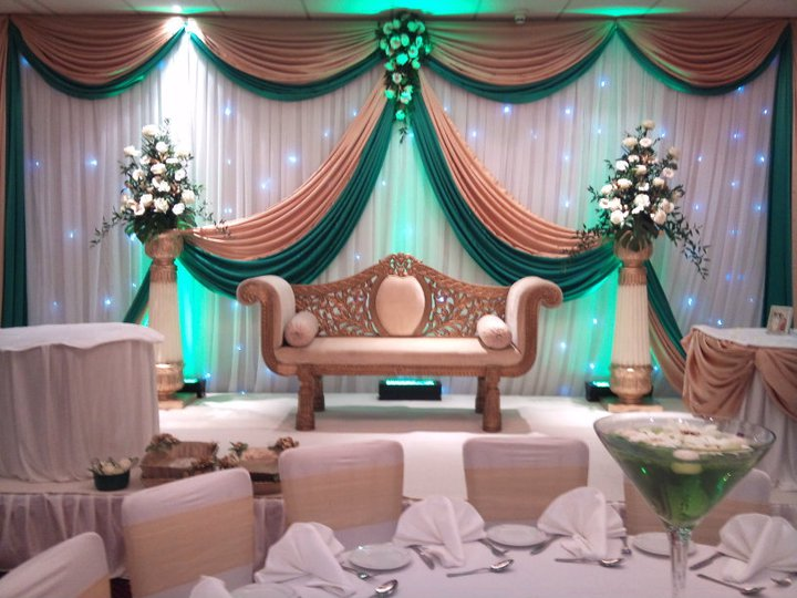 wedding backdrop swags gold and green swags for backdrop
