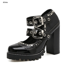 Women Sexy Platform Thick High Heels Fashion Plus Size Buckle Party Shoes Woman Pumps jjm02
