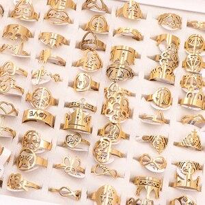 Image 4 - 50 Cái/lốc Phối Phong Cách Ngẫu Nhiên Laser Cắt Hoa Văn Vàng Màu Thép Không Gỉ Nhẫn Nữ Đảng Nhẫn