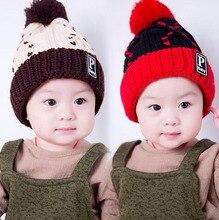 2016 PBaby этикетки шерсть Hairball Осень Зима Ребенок Ребенок вязаная шапка дети девушки Earflap Caps мехом внутрь Возраст для 1-4 лет
