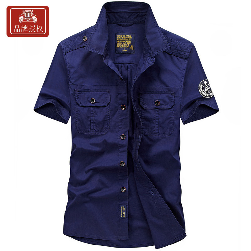 AFS JEEP Big Size Brand Men Short Sleeve Battlefield Military Shirts Fit Men's Summer Casual Solid Shirts 100% Cotton 1755