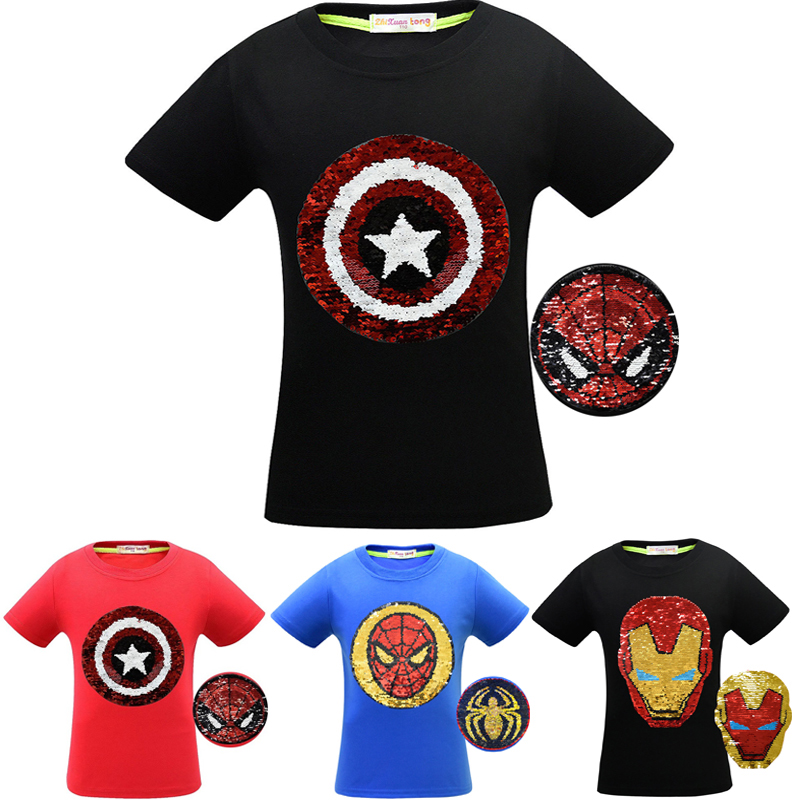 Avengers 4 Endgame T Shirt Children Boy Change Color Sequins Letter Print T-shirt Kid Summer Captain America Spiderman Clothes(China)