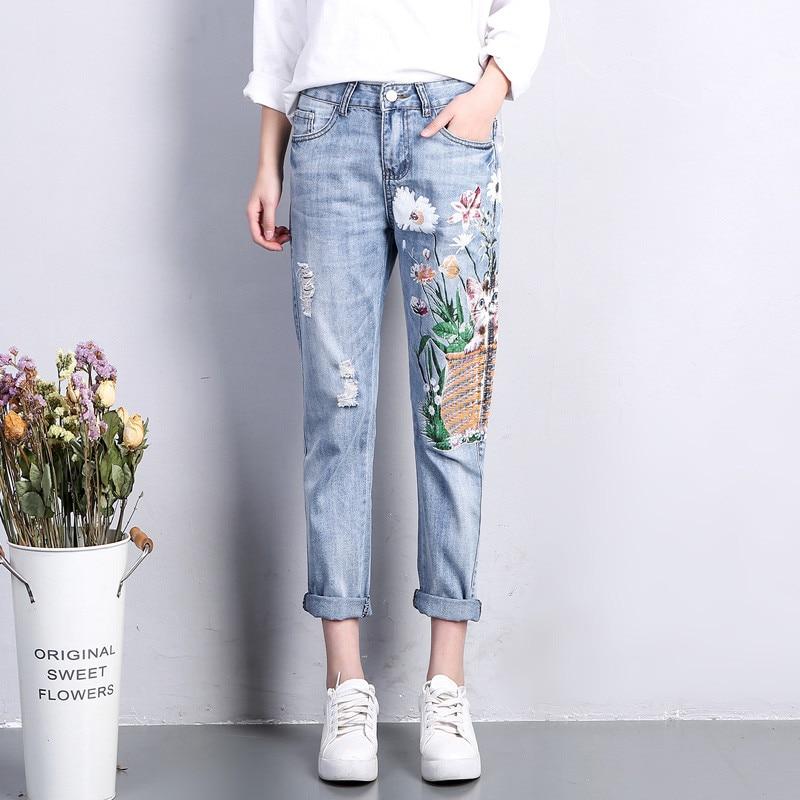 Summer Casual Pants Women Denim Jeans Cat Flower Printing Hole Straight Ripped Jeans For Women Haren Jeans Femme Trousers C3171 aberdeen hitz cat men s jeans slim korean straight hole young haren long pants