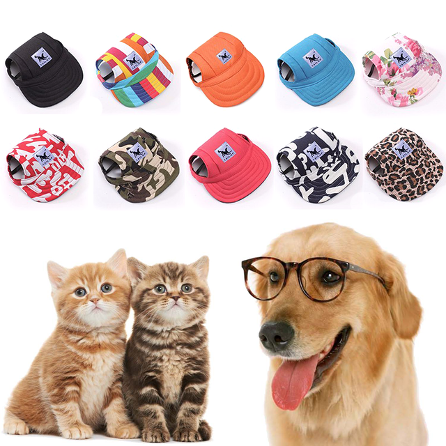 d0fc762ae59 10 Styles Cute Dog Hat with Ear Holes Summer Canvas Baseball Cap Pet Dog  Cat Outdoor Accessories Hiking Hat Pet Products