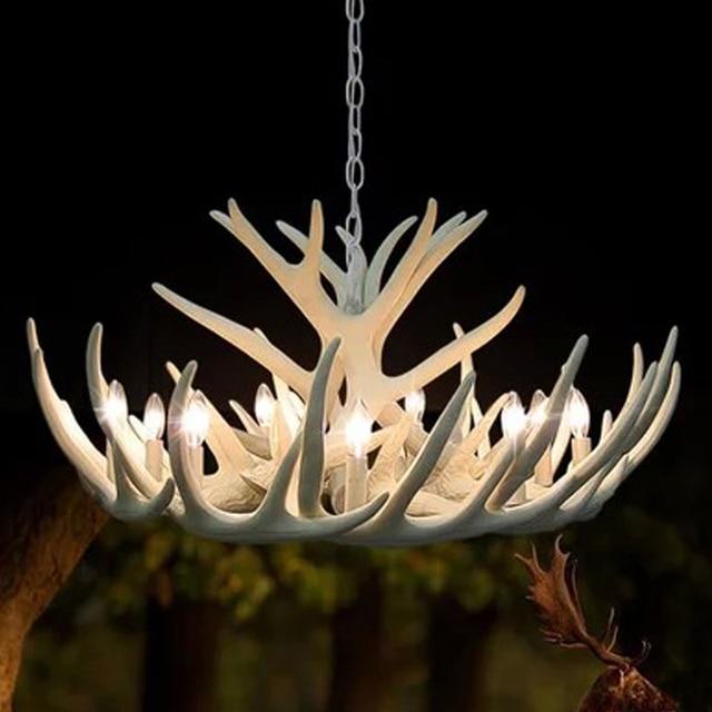 Europe deer horn antler pendant lamp white resin antler kitchen europe deer horn antler pendant lamp white resin antler kitchen decor suspension ems free shipping aloadofball Image collections