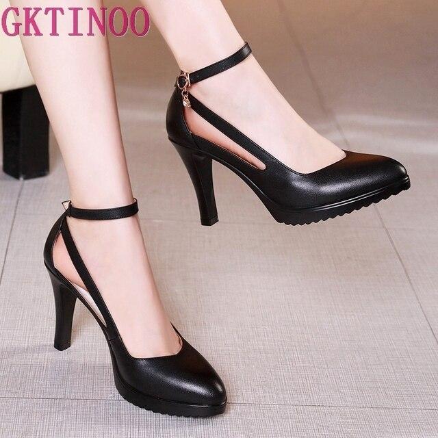 GKTINOO سيدة مضخات أشار تو مكتب سيدة مضخات مشبك حزام منصة عالية الكعب النساء أحذية أربعة الموسم أحذية من الجلد