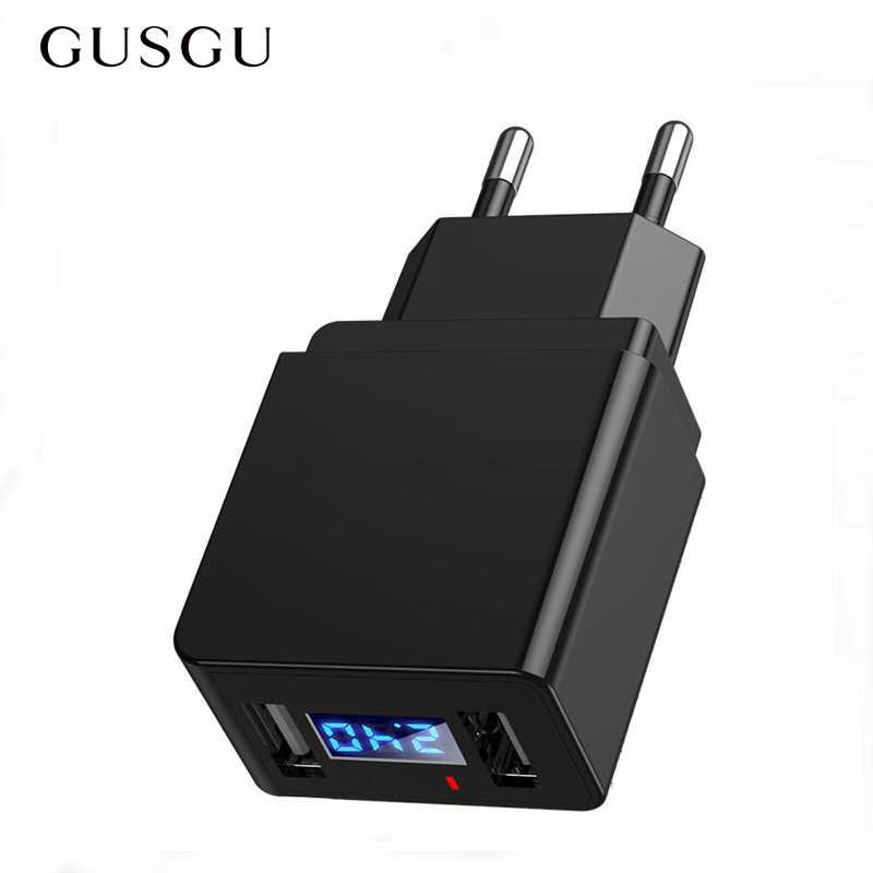 Cepat Charger LED Display Dual USB Ponsel Charger 2.4A Cepat Pengisian Uni Eropa Plug Ponsel Perjalanan Dinding Adaptor untuk iPhone X IPad Samsung