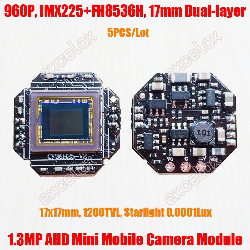 5PCS Lot Starlight 17x17mm 1280x960 1 3MP AHD Mobile Vehicle CCTV Camera Module IMX225 CMOS FH8536H