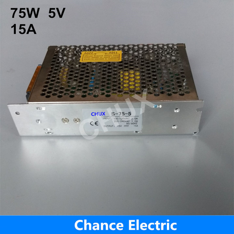 купить Factory Provide CE Certificate SMPS 5V DC 15A used for LED Industry Ssingle Output  Switching Power Supply S- 75W 5V недорого