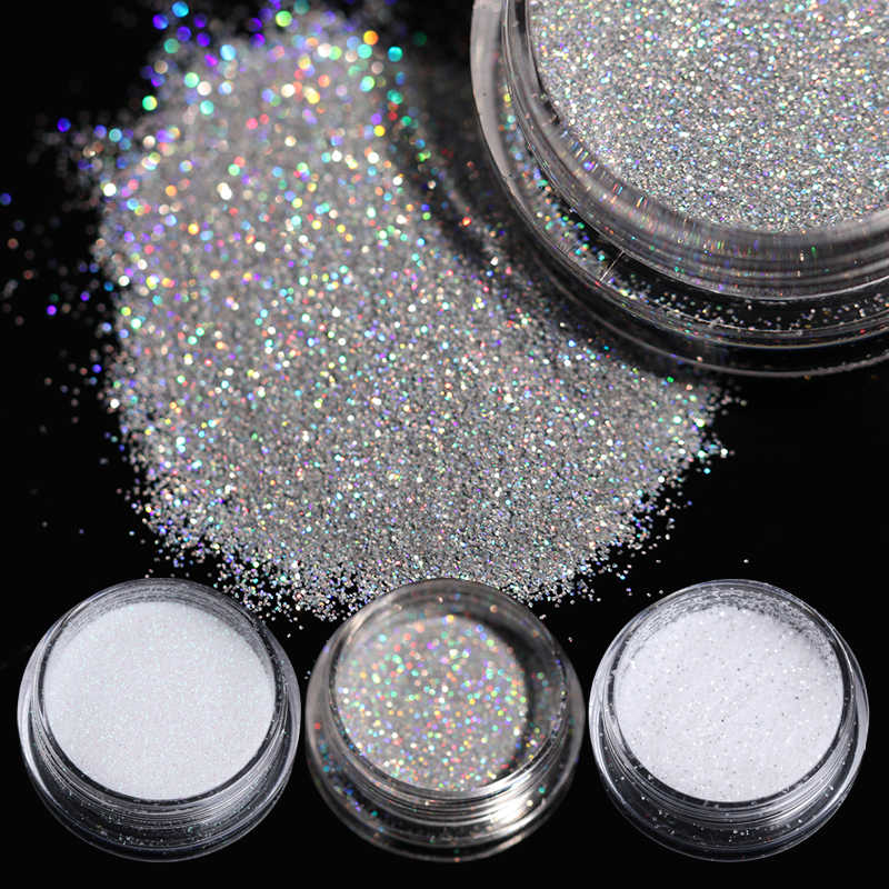 1Box 1g Holographic Glitter Powder Shining Sugar Nail Glitter Dust Powder for Nail Art Decorations Nail Glitter Powder
