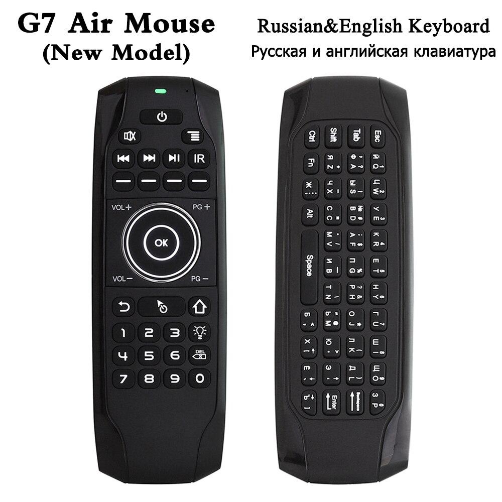 Souris à Air sans fil rétroéclairé G7 2.4G avec clavier télécommande intelligente gyroscopique 6 axes pour X96 tx3 mini A95X H96 pro Android TV Box