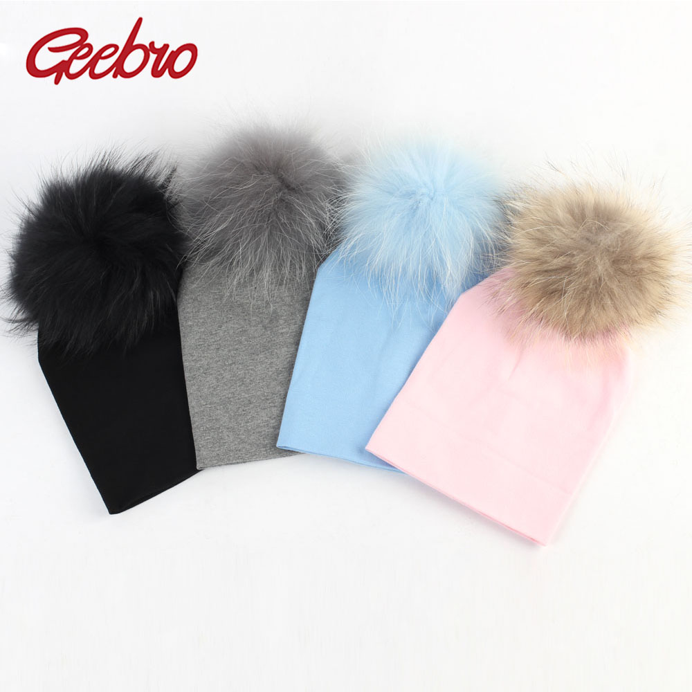 Geebro Newborn Baby Cotton   Beanies   Hats With Real Fur Raccoon Pompom For Girls Boys Kids Warm Plain Cotton   Skullies     Beanie   Hat