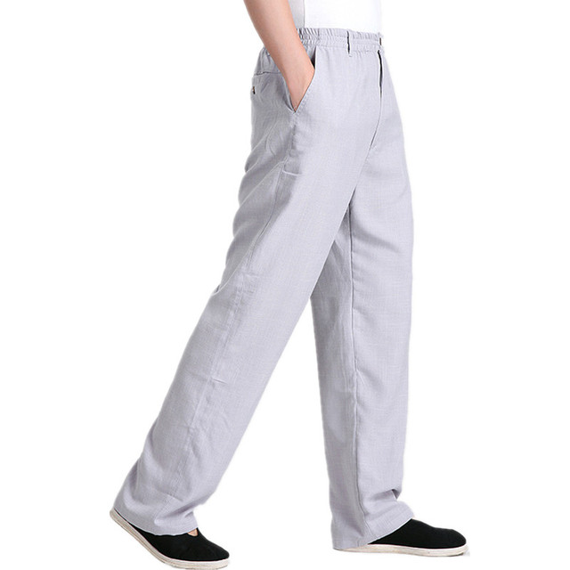Hot Sale Gray Men's Linen Kung Fu Trousers Chinese Traditional Pants Clothing Free Shipping Size M L XL XXL XXXL