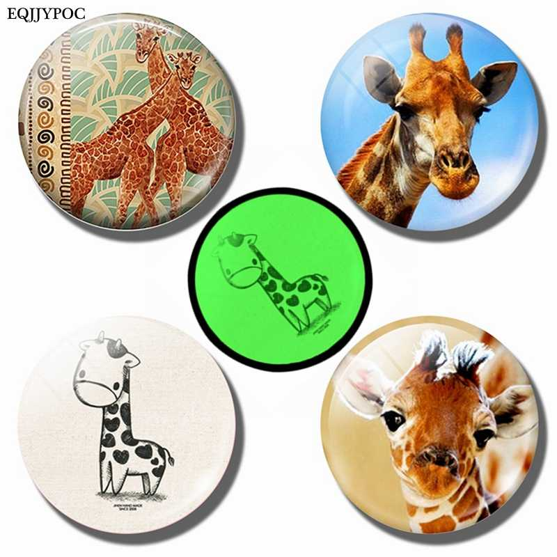 Giraffe Crystal Glass Fridge Magnets for Refrigerator for Message Board Whiteboard Luminous Animal stickers Kitchen Accessories