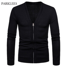 Mens Solid Color Cardigan Sweater 2018 Autumn Winter New V Neck Zipper Male Cardigans Slim Fit Long Sleeve Knitting Coat Homme