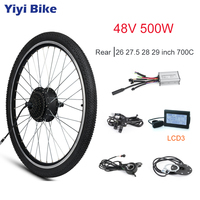 48V 500W e bike Conversion Kit Rear Motor Wheel For Electric Bike 26 27.5 28 29 700C Brushless Gear Hub Motor Thumb Throttle