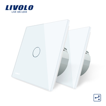 Livolo EU Standard 2 Ways Control Wall Touch Screen Switch, 7Colors Crystal Glass Panel, 220-250V,cross/through switch,2pcs/pack стоимость