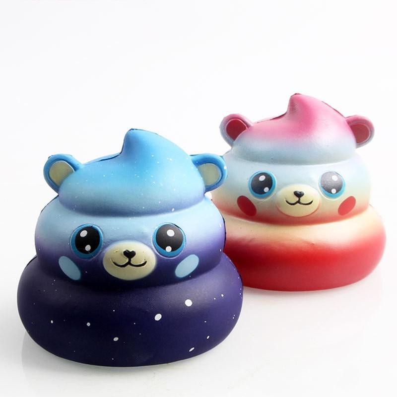 New Cute Rainbow Cartoon Bear Face Poo Squishy Slow Rising Kawaii Straps Soft Squeeze Cream Scented Bread Cake Toys Kids Fun