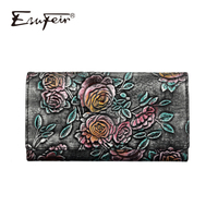 ESUFEIR Genuine Leather Women Wallet Wipe Color Standard Wallets Vintage Long Purse Card Holder Fashion Clutch