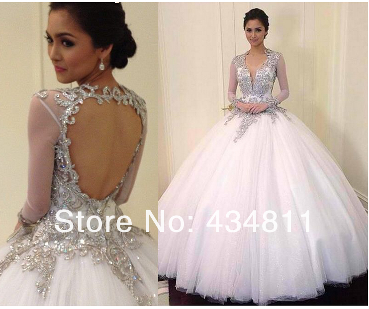 Ball Gown Long Sleeve Beaded Crystal Applique Watteau: Exquisite V Neck Sheer Long Sleeves Beaded/Crystal