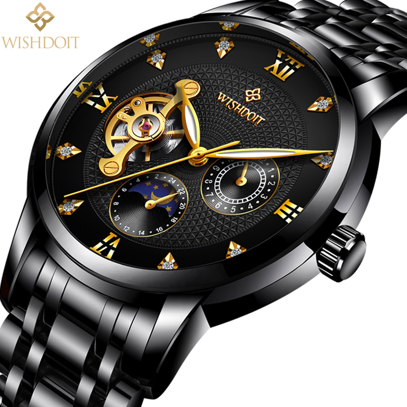 WISHDOIT Men Mechanical Watches Sport Business Waterproof Casual Fashion Steel Mens Watch Military  Male Clock Top Luxury Brand mens watch top luxury brand fashion hollow clock male casual sport wristwatch men pirate skull style quartz watch reloj homber