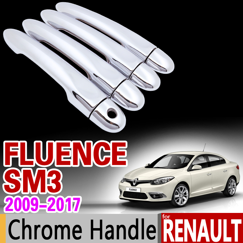 for Renault Fluence SM3 2009 - 2017 Chrome Handle Cover Trim Set 2010 2011 2012 2013 2014 2015 Accessories Stickers Car Styling jgrt chrome rear window wiper cover trim for 2013 2014 2015 frod escape kuga new high quality chrome stickers trim car styling c
