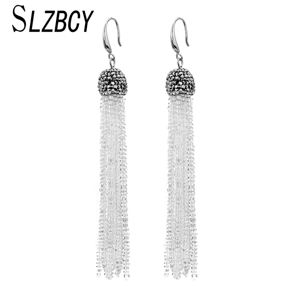 SLZBCY Bohemian Crystal Seed Beads Tassel Dangle Earrings For Women Girls White Black Long Drop Earring Fashion Jewelry Gift(China)