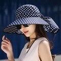 2016 Летние Женщины Широкий Большой Брим Floppy Пляж Gorro Шляпы На Открытом Воздухе Козырьки Cap Sun Складной Анти-Уф Шляпу Sunhat Капелло