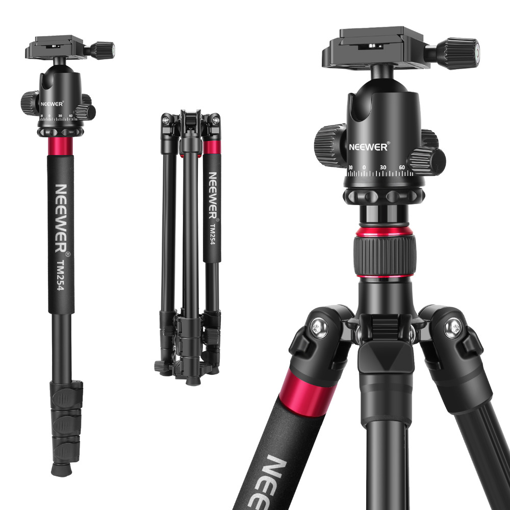 Neewer Tripod-Monopod Camera Ball-Head Aluminum-Alloy Qr-Plate Centimeters with 360-Degree