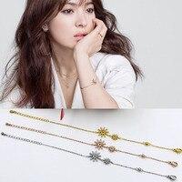 Korean Double Sun Drama Titanium Steel Jewelry Snow Flower Simple Bracelet High Quality Gift Sun Flower